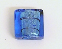10 SILVER FOIL GLASS 12MM SQUARE BEADS  BLUE
